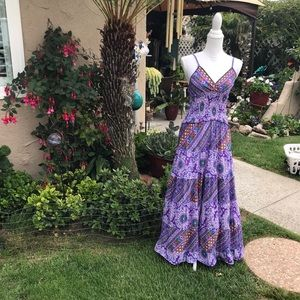 Blugirl Purple Mixed Print Maxi Dress